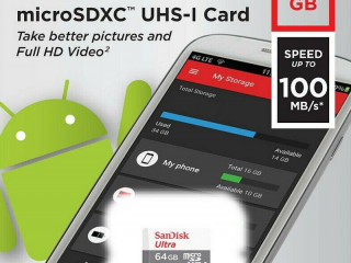 SanDisk 64 GB Ultra Android Class 10 MicroSDHC карта с памет, бяла